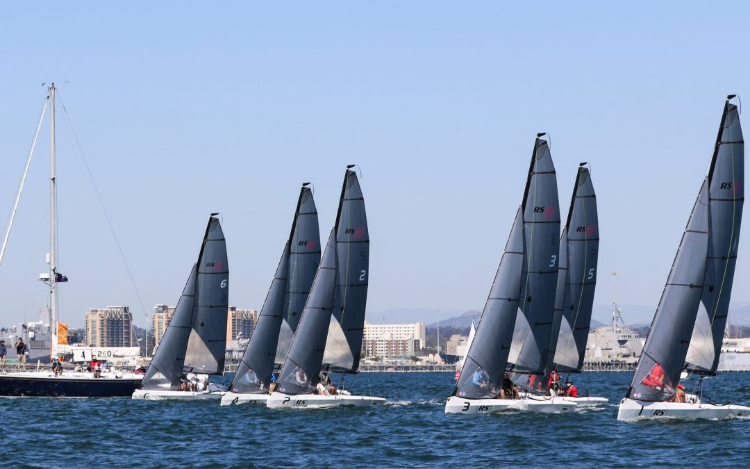 Six RS21s line up at the San Diego NOOD Regatta.